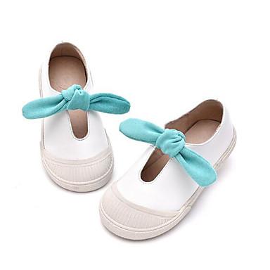 Tyttöjen kengät Aitoa nahkaa Tekonahka Kevät Syksy Ensikengät Tasapohjakengät Kävely Tarranauhalla varten Kausaliteetti Valkoinen Pinkki
