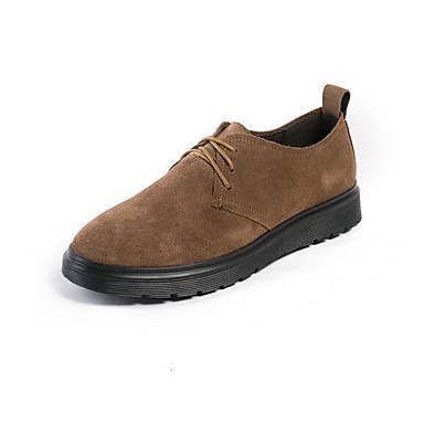 Miehet kengät Mokkanahka Kevät Comfort Oxford-kengät Käyttötarkoitus Päivittäin Musta Khaki
