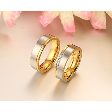 Casal Anéis de Casal Anel Anel de banda Zircônia cúbica Ouro Rose Rosa ouro Zircônia Cubica Redonda Elegant Fashion Estilo simples