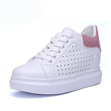 Damen Schuhe Kunststoff Sommer Herbst Sneakers Walking Plattform Runde Zehe Schnürsenkel für Rosa und Weiss Schwarz/weiss Weiß und Grün