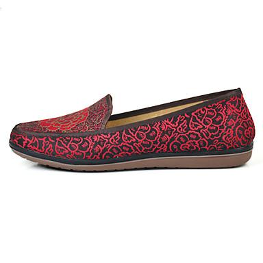 Mulheres Sapatos Tecido Primavera Verão Conforto Rasos Caminhada Sem Salto Ponta Redonda Flor para Casual Café Vermelho