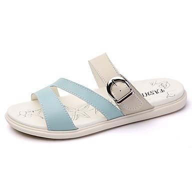 Damen Schuhe Leder Sommer Sandalen Walking Flacher Absatz Peep Toe Mit Für Weiß Beige Hellblau