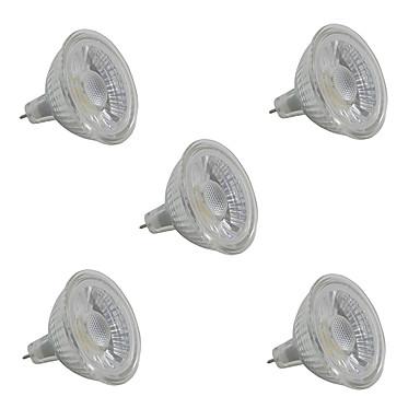 5pcs 5W 380-420lm GU5.3 LED-kohdevalaisimet MR16 1 LED-helmet COB Lämmin valkoinen / Valkoinen / 5 kpl