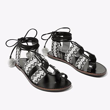Naiset Kengät PU Kesä Comfort Sandaalit Tasapohja Käyttötarkoitus Kausaliteetti Valkoinen Musta