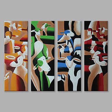 Pintados à mão Animais Panorâmico vertical, Abstracto Moderno/Contemporâneo Tela de pintura Pintura a Óleo Decoração para casa 4 Painéis