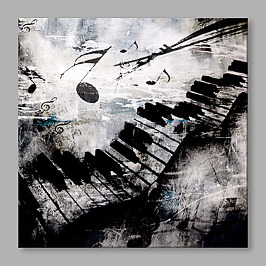 IARTS Abstract Black Music Notation on Canvas Print Art for Modern Wall Decoration