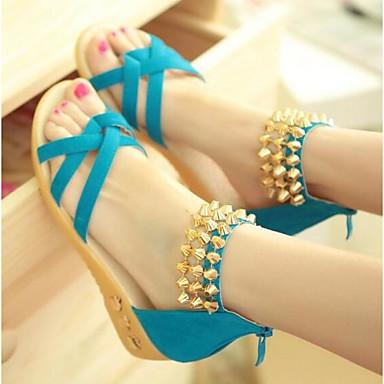 Naisten Kengät PU Kevät Comfort Sandaalit varten Kausaliteetti Musta Sininen Pinkki