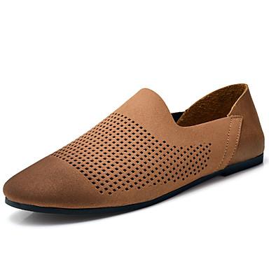 Homens sapatos Couro Ecológico Verão Conforto Mocassins e Slip-Ons Preto / Marron