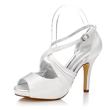 cheap Wedding Shoes-Women's Shoes Silk Summer / Fall Heels Stiletto Heel Peep Toe / Round Toe Buckle for Ivory