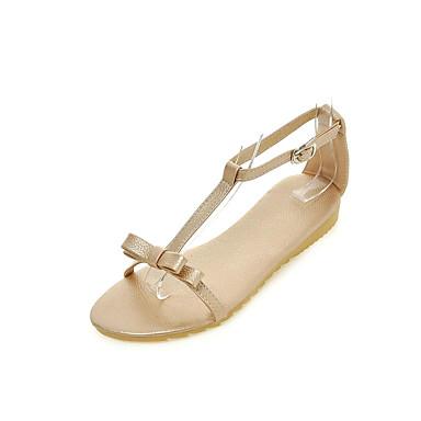 Naiset Sandaalit Comfort Gladiaattori Tekonahka Kesä Puku Comfort Gladiaattori Tasapohja Kulta Valkoinen Hopea Pinkki Tasapohja