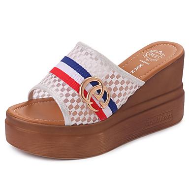 Mulheres Sapatos Couro Ecológico Verão Conforto Sandálias Salto Plataforma Branco / Preto