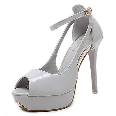 Mulheres Sapatos Courino Primavera Verão Conforto Sandálias Caminhada Salto Agulha Peep Toe Presilha para Casual Social Preto Amêndoa