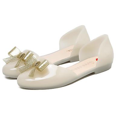 Mulheres Sapatos PVC Primavera Verão Plástico D'Orsay Sandálias Sem Salto Dedo Fechado Laço para Casual Social Ao ar livre Branco Preto