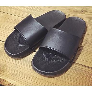 Miehet Sandaalit Tekonahka Kevät Valkoinen Musta Tasapohja