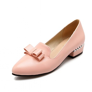 Mulheres Sapatos Sintético Courino Couro Ecológico Verão Outono Conforto Inovador Saltos Caminhada Salto Robusto Dedo Apontado Laço para