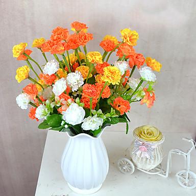 Flores artificiais 1 Ramo Pastoril Estilo Cravo Flor de Mesa