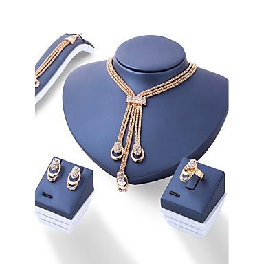 Mulheres Gema Conjunto de jóias 1 Colar 1 Par de Brincos 1 Bracelete 1 Anél - Euramerican Fashion Irregular Dourado Conjunto de Jóias Para