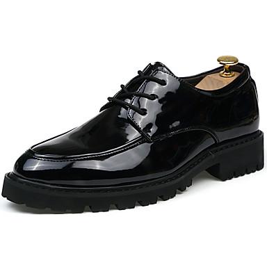Homens sapatos Couro Ecológico Primavera Outono Tênis Caminhada Combinação para Preto Preto/Vermelho Black / azul