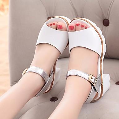 Naiset Sandaalit Comfort Kevät PU Kausaliteetti Valkoinen Musta 1-1,75in
