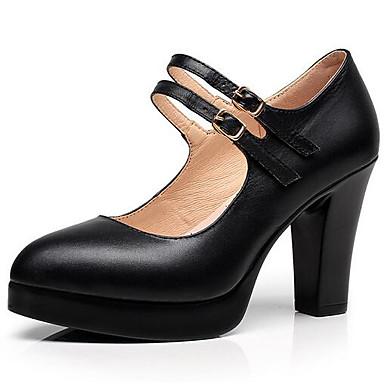 Mulheres Sapatos Microfibra Primavera / Outono Plataforma Básica Saltos Salto Robusto Dedo Apontado Preto