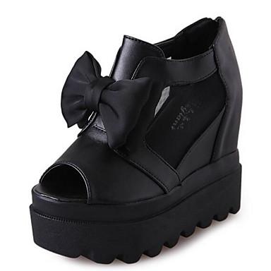 Naiset Sandaalit Comfort Kevät PU Kausaliteetti Musta Tasapohja
