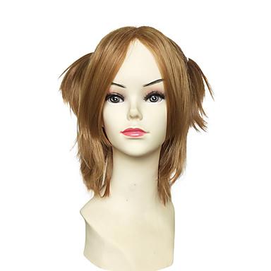 Cabelo Sintético perucas Liso Kinky Liso Sem Touca Peruca para Cosplay Curto Marrom