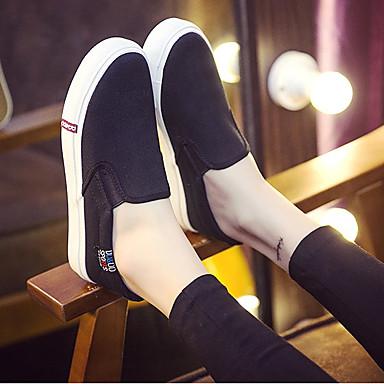 Naiset Mokkasiinit Comfort Canvas Kevät Kausaliteetti Comfort Valkoinen Musta Tasapohja