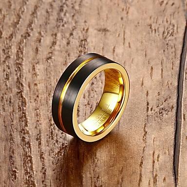 Herrn Verlobungsring Ring Gold 18K Gold Wolframstahl Kreisförmig Personalisiert Klassisch Modisch Hochzeit Party Verlobung Alltag