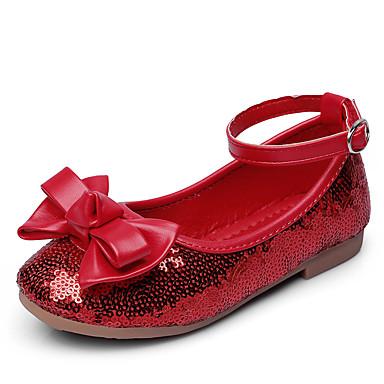 Para Meninas sapatos Courino Primavera Outono Rasos Laço Velcro para Vermelho Azul