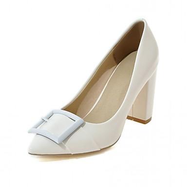 Mulheres Sapatos Couro Envernizado Couro Ecológico Primavera Verão Conforto Inovador Saltos Salto Robusto Dedo Apontado para Casual