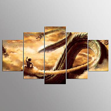 Pingoitetut kanvasprintit Abstrakti,5 paneeli Kangas Horizontal Painettu Wall Decor Kodinsisustus