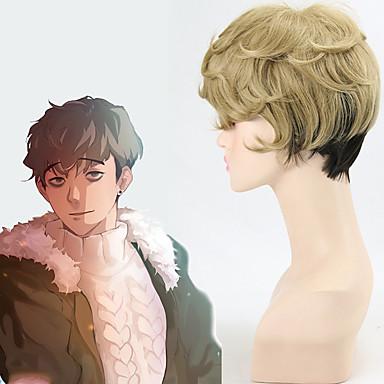 Synteettiset peruukit Luonnolliset aaltoilevat Liukuvärjätyt hiukset Ruskea Miesten Naisten Suojuksettomat Cosplay-peruukki Lyhyt