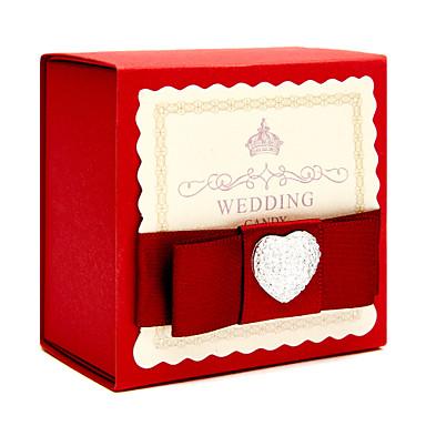 Kocka alakú/köb Kártyapapír Favor Holder val vel Strasszkő Szalagok Ajándék dobozok Ajándékdobozok - 6