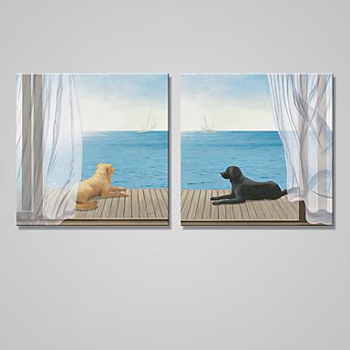 Aufgespannte Leinwandrucke Tier Modern Klassisch,Zwei Panele Leinwand Quadratisch Druck-Kunst Wand Dekoration For Haus Dekoration