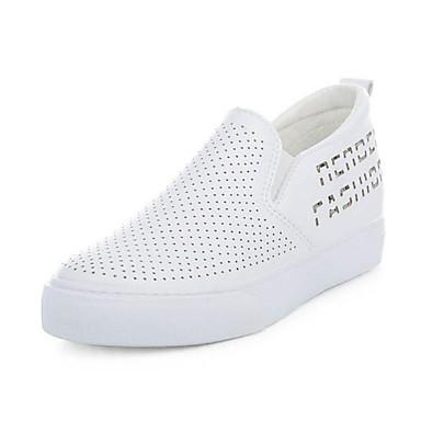 Naiset Kengät PU Kesä Syksy Comfort Mokkasiinit Creepers Käyttötarkoitus Kausaliteetti Valkoinen Musta