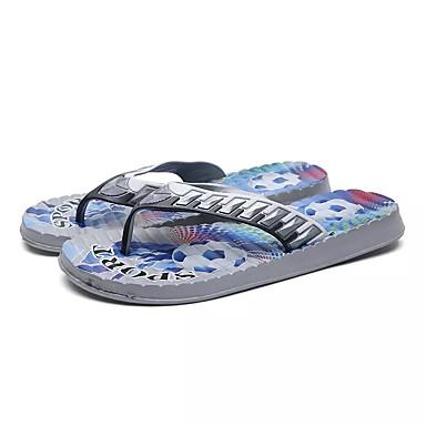 Herrn Schuhe PU Sommer Komfort Slippers & Flip-Flops für Draussen Grau Gelb Blau