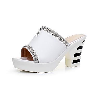 Naiset Kengät Nahka Kesä Comfort Sandaalit Leveä korko Avokärkiset korkokengät Käyttötarkoitus Valkoinen Musta
