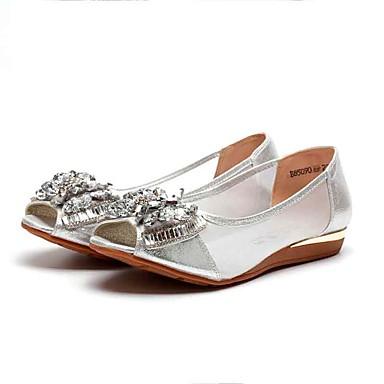Mulheres Sapatos Tecido Tule Verão Conforto Sandálias Sem Salto Peep Toe Cristais Gliter com Brilho para Escritório e Carreira Social