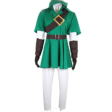 Innoittamana The Legend of Zelda Link Deluxe Video Peli Cosplay-asut Cosplay Puvut Patchwork Puolihiha Takki / Pusero / Housut Halloween-asut