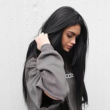 Χαμηλού Κόστους Συνθετικές περούκες με δαντέλα-Συνθετικές μπροστινές περούκες δαντέλας Ίσιο Kardashian Στυλ Πλευρικό μέρος Μονόκλωνα / Σχήμα L / Δαντέλα Μπροστά Περούκα Μαύρο Μαύρο Συνθετικά μαλλιά Γυναικεία / Ανθεκτικό στη Ζέστη
