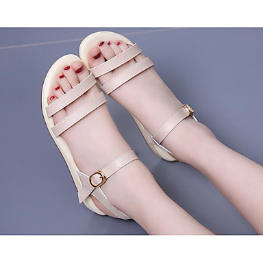 Naiset Kengät Synteettinen mikrokuitu PU PU Kevät Comfort Sandaalit Käyttötarkoitus Kausaliteetti Beesi Vaalean sininen Vaalea