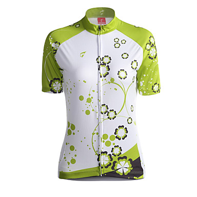 GETMOVING Naisten Lyhythihainen Pyöräily jersey - Vihreä Pyörä Jersey, Hengittävä Coolmax®