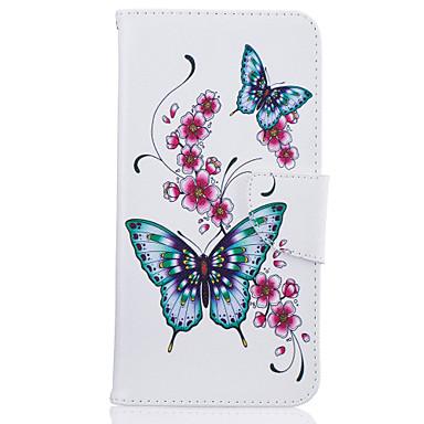 Pro iphone 7plus 7 telefonní případ pu kožený materiál broskvový motýl vzor malovaný telefonní pouzdro 6s plus 6plus 6s 6 se 5s 5