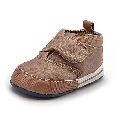 Para Meninos Sapatos Sarja Outono / Inverno Primeiros Passos Tênis Colchete para Crianças Azul Marinho / Khaki / Festas & Noite