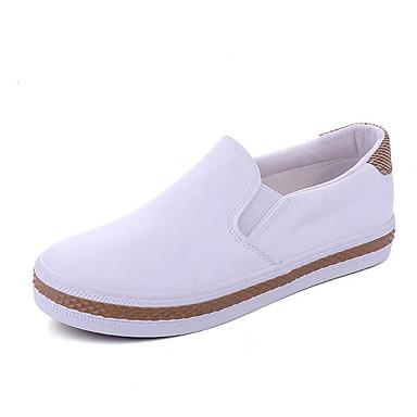 Miehet Kengät PU Kevät Comfort Mokkasiinit Käyttötarkoitus Kausaliteetti Valkoinen Musta