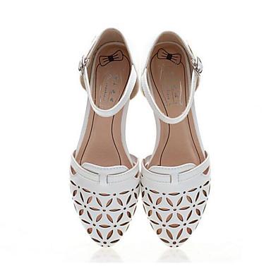 Naiset Kengät PU Kevät Comfort Sandaalit Käyttötarkoitus Kausaliteetti Valkoinen Musta Pinkki