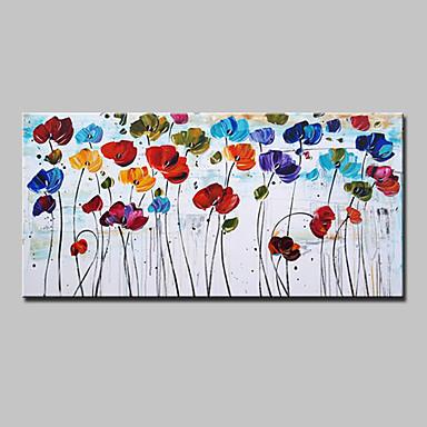 Pintura a Óleo Pintados à mão - Floral / Botânico Modern / Estilo Europeu Incluir moldura interna / Lona esticada