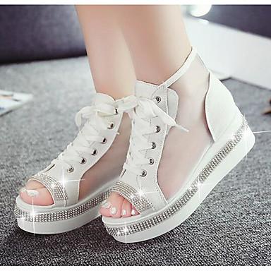 Naiset Kengät Denim PU Kevät Comfort Sandaalit Käyttötarkoitus Kausaliteetti Valkoinen Sininen