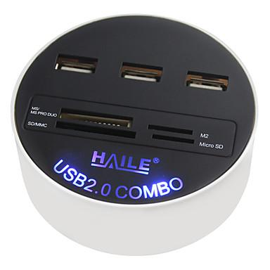 Haile hu-03 weiß rund 3-Port usb2.0 Nabe mit Kartenleser Funktion 80cm Kabel
