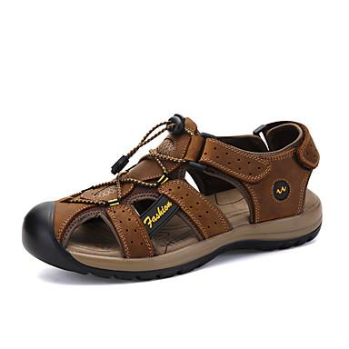 Pánské Obuv Nappa Leather Léto Pohodlné Sandály Boty do vody Kouzelná páska pro Sportovní Venkovní Světle žlutá Hnědá